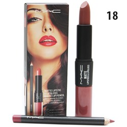 Помада - блеск - карандаш MAC Matte Lipstick & Lipgloss Matte Lip Pencil 3 in 1 № 18